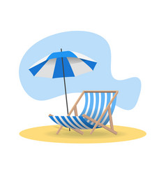 beach chair and umbrella from sun on sand in vector image