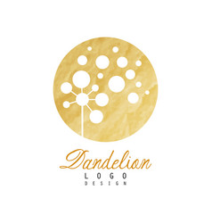 Beautiful abstract dandelion logo gentle golden vector
