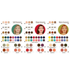 Best colors for autumn type female appearance vector