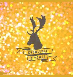 bokeh background with deer emblem vector image
