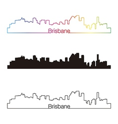 Brisbane skyline linear style with rainbow vector image