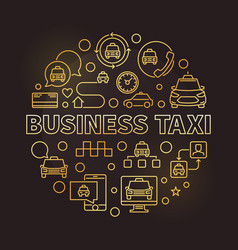 business taxi concept round golden outline vector image