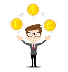 Cartoon businessman juggling with gold coins vector
