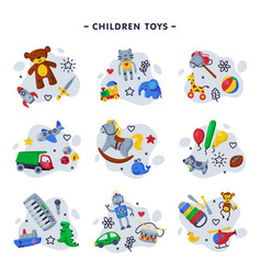 Children toys set various objects for kids game vector