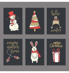 Christmas greeting decorated cards set vector image