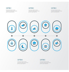 Climate colorful icons set collection of cloudy vector
