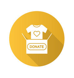 clothes donating flat design long shadow glyph vector image