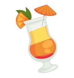 Colored cocktail of three layers with orange vector