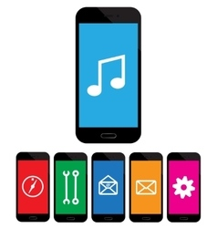 colored mobile phone icons on white background vector image