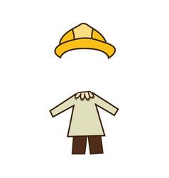 Colorful caricature architect costume profession vector