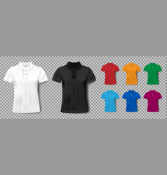 colorful realistic slim male polo shirt design vector image