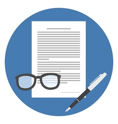 Contract Icon Flat style Isolated in colored vector image