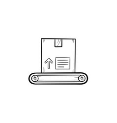 conveyor belt with box hand drawn outline doodle vector image