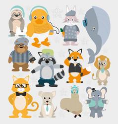 Cute animals pattern background vector