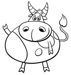 cute bull farm animal comic character coloring vector image