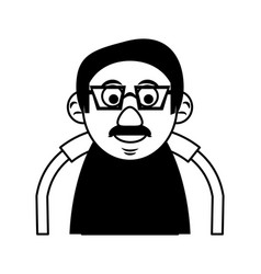 Cute happy elderly man wearing glasses icon image vector