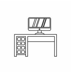 Desktop with computer icon outline style vector
