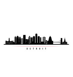 Detroit city skyline horizontal banner vector