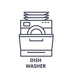 Dish washer line icon concept dish washer vector