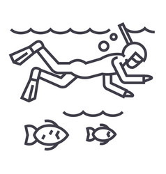 diving in the sea with fishscubasnorkeling vector image