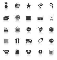E commerce icons with reflect on white background vector
