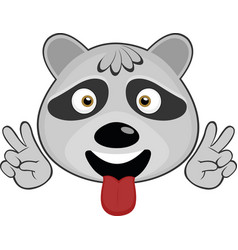 Face a raccoon cartoon vector