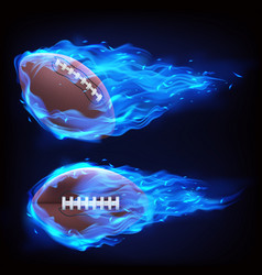 flying rugball in blue fire vector image