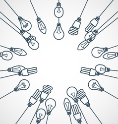 frame light bulbs hanging on cords - lamps vector image