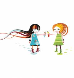 funky cartoon girls vector image