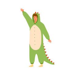 Funny man in dinosaur kigurumi with raised hand vector