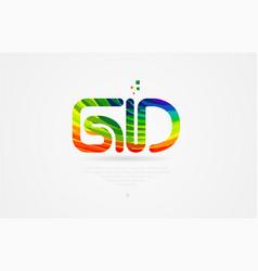 Gd g d rainbow colored alphabet letter logo vector