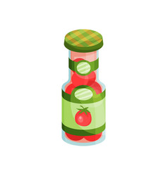 glass jar with pickled tomatoes canned vegetables vector image