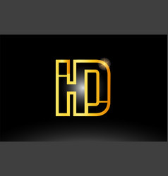 Gold black alphabet letter hd h d logo vector