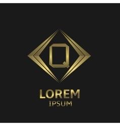 Golden Q letter vector image