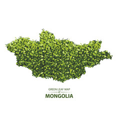 Green leaf map of mongolia of a vector