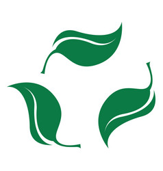 green leaves set bio recyclable plastic icon vector image