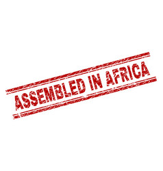 grunge textured assembled in africa stamp seal vector image
