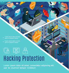hacking security and protection template vector image