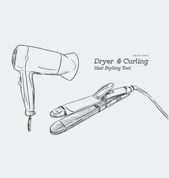 hair stylers dryer and curking hair tool vector image