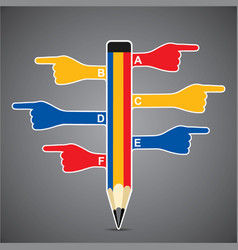 Hand with pencil pointed outside vector