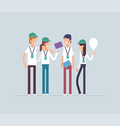 Happy volunteers standing together - modern flat vector