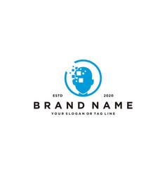 Human tech pixel logo design vector