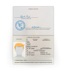 International passport sample personal vector