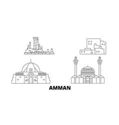 Jordan amman line travel skyline set jordan vector