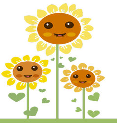 Kawaii flowers 2 vector