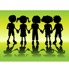 Kid silhouettes holding hands vector