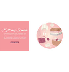Knitting studio web banner knitwear with threads vector