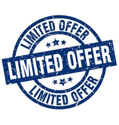 limited offer blue round grunge stamp vector image