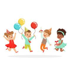 Little children birthday celebration party vector