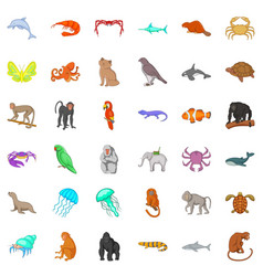 many animals icons set cartoon style vector image